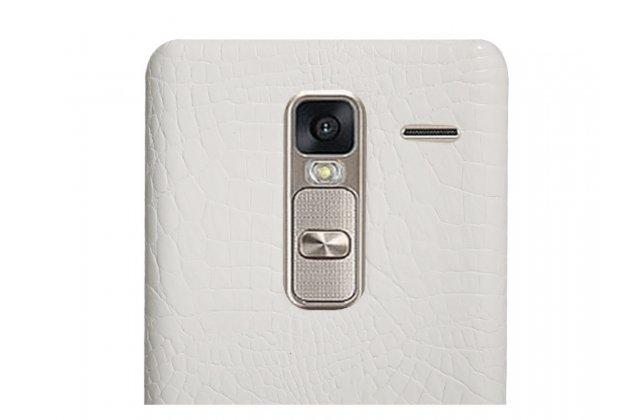 """Фирменная роскошная элитная премиальная задняя панель-крышка для LG Class H740 /H650E 5.0"""" из качественной кожи под крокодила белая"""