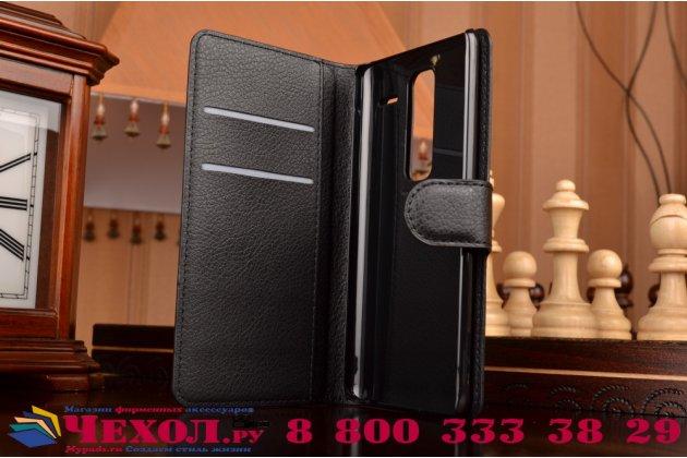 """Фирменный чехол-книжка из качественной импортной кожи с подставкой застёжкой и визитницей для Лджи Класс Н740/ Н650Е 5.0"""" черный"""