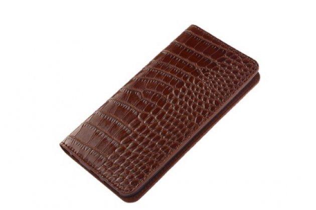 """Фирменный роскошный эксклюзивный чехол из лаковой кожи крокодила коричневый для LG Class H740 /H650E 5.0"""""""