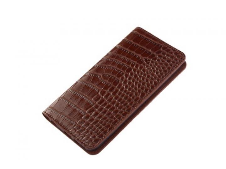 Фирменный роскошный эксклюзивный чехол из лаковой кожи крокодила коричневый для LG Class H740 /H650E 5.0