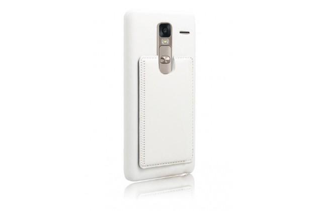 """Фирменная роскошная элитная премиальная задняя панель-крышка для LG Class H740 /H650E 5.0"""" из качественной кожи буйвола с визитницей белая"""