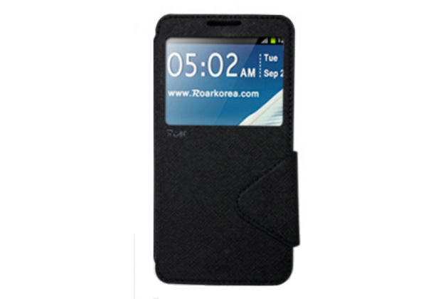 Фирменный чехол-книжка для LG G Flex 2 (H959)  черный с окошком для входящих вызовов водоотталкивающий