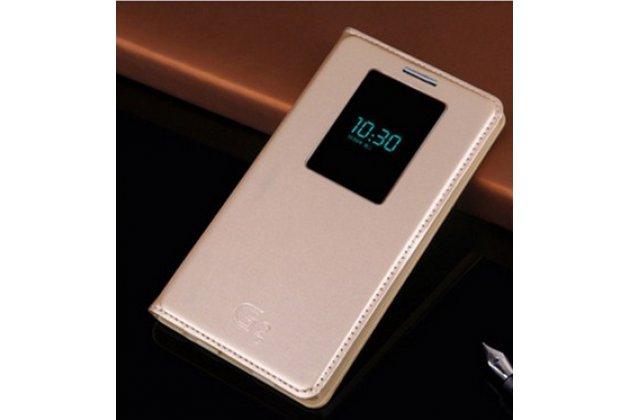 Фирменный оригинальный чехол-книжка на LG G2 (D802) с окошком для звонков водоотталкивающий золотой