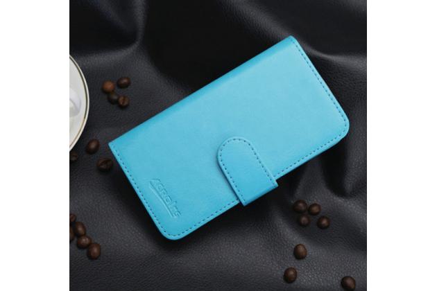 Фирменный чехол-книжка из качественной водоотталкивающей импортной кожи на жёсткой металлической основе для LG G3 Mini бирюзовый