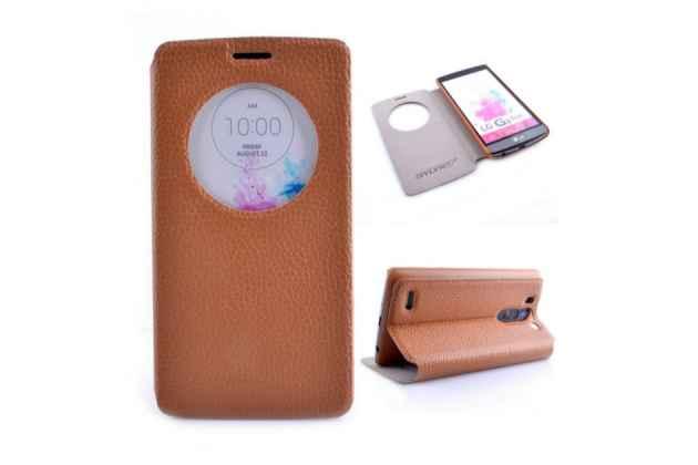 Фирменный оригинальный чехол-книжка для LG G3 s Mini D724/D722 коричневый кожаный с окошком для входящих вызовов