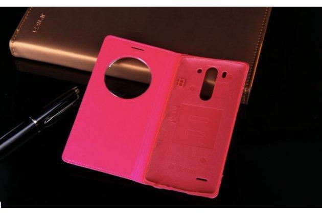 Фирменный оригинальный чехол-книжка для LG G3 s Mini D724/D722 розовый кожаный с окошком для входящих вызовов