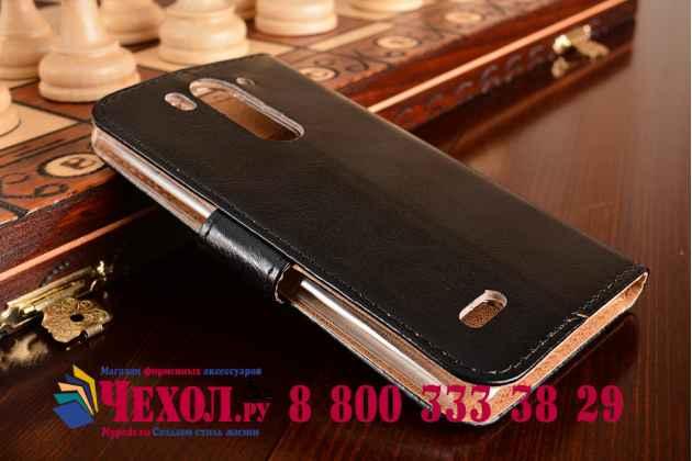 Фирменный чехол-книжка из качественной импортной кожи с мульти-подставкой застёжкой и визитницей для ЛДжи ЛГ Джи 3 мини черный