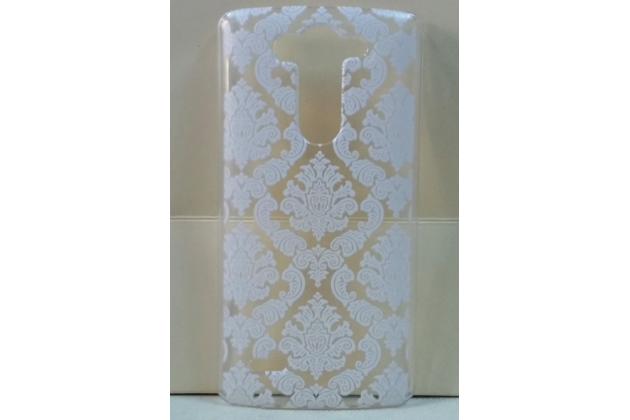 Фирменная роскошная задняя панель-чехол-накладка с расписным узором для LG G3 s Mini D724/D722 прозрачная белая