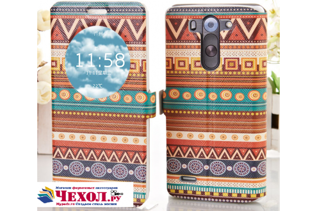 Фирменный чехол-книжка с безумно красивым расписным эклектичным узором на LG G3 s Mini D724/D722 с окошком для звонков