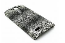 """Ультра-тонкая пластиковая задняя панель-крышка для LG G3 s Mini D724/D722  """"змеиная кожа"""" черный"""