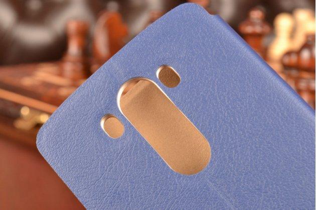 Фирменный чехол-книжка из качественной водоотталкивающей импортной кожи на жёсткой металлической основе для LG G3 /G3 Dual LTE D855/D856/D858 темно-синий