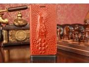 Фирменный роскошный эксклюзивный чехол с объёмным 3D изображением кожи крокодила коричневый для LG G3 /G3 Dual..