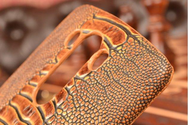 Фирменная элегантная экзотическая задняя панель-крышка с фактурной отделкой натуральной кожи крокодила кофейного цвета для LG G3 /G3 Dual LTE D855/D856/D858. Только в нашем магазине. Количество ограничено.