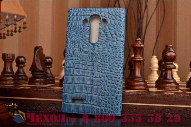 Фирменный роскошный эксклюзивный чехол с объёмным 3D изображением рельефа кожи крокодила синий для LG G4 H815/H818. Только в нашем магазине. Количество ограничено
