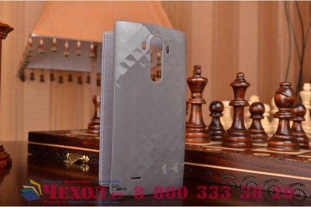 Фирменный оригинальный с логотипом умный чехол-кейс Quick Circle LG CFR-100C для LG G4 с умным окном серебряный