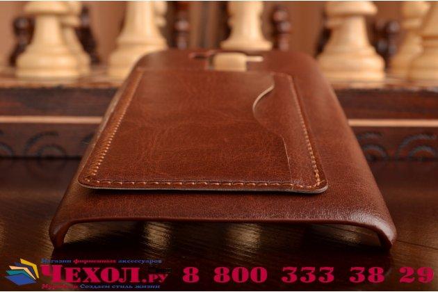 Фирменная роскошная элитная премиальная задняя панель-крышка для LG G4 Stylus H540F / H635A / LS770  из качественной кожи буйвола с визитницей коричневая