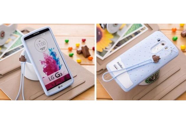 """Фирменная необычная уникальная полимерная мягкая задняя панель-чехол-накладка для LG G4 Stylus H540F / H635A / LS770  """"тематика Андроид в Черничном  Шоколаде"""""""