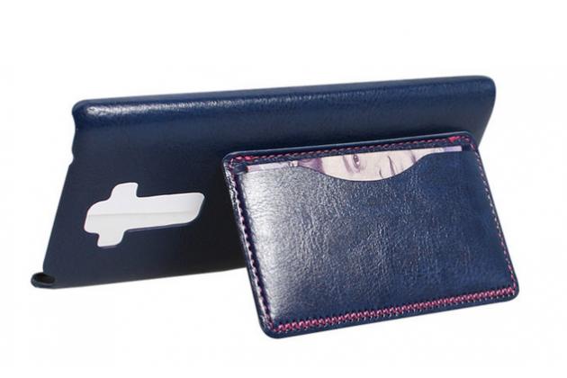 Фирменная роскошная элитная премиальная задняя панель-крышка для LG G4 Stylus H540F / H635A / LS770 из качественной кожи буйвола с визитницей синяя