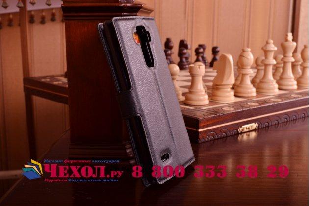 Фирменный чехол-книжка из качественной импортной кожи с мульти-подставкой застёжкой и визитницей для ЛДжи Джи 4 Стилус Х540Ф / Х635А / ЛС770 черный