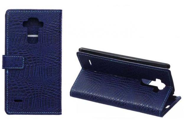 Фирменный чехол-книжка с подставкой для LG G4 Stylus H540F / H635A / LS770 лаковая кожа крокодила цвет фиолетовый