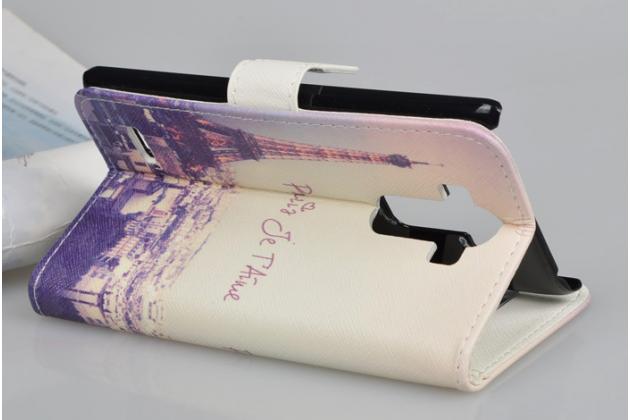 """Фирменный уникальный необычный чехол-подставка с визитницей кармашком для LG G4 Stylus H540F / H635A / LS770 """"тематика Франция"""""""
