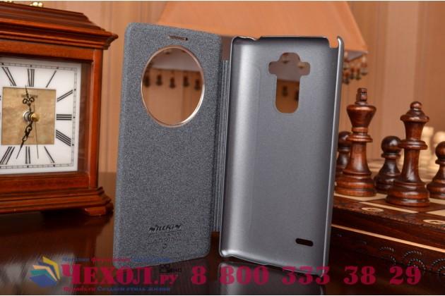 Фирменный оригинальный чехол-книжка для LG G4 Stylus H540F / H635A / LS770 черный  кожаный с окошком для входящих вызовов
