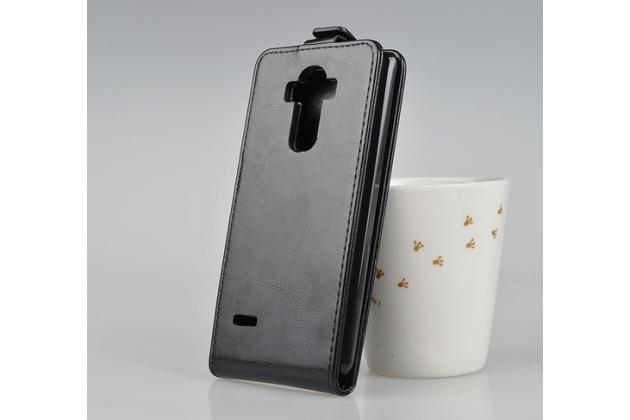 """Фирменный оригинальный вертикальный откидной чехол-флип для  LG G4 Stylus H540F / H635A / LS770 черный из натуральной кожи """"Prestige"""" Италия"""