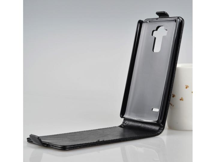 Фирменный оригинальный вертикальный откидной чехол-флип для  LG G4 Stylus H540F / H635A / LS770 черный из нату..