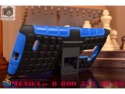 Противоударный усиленный ударопрочный фирменный чехол-бампер-пенал для LG G4 Stylus H540F / H635A / LS770 сини..
