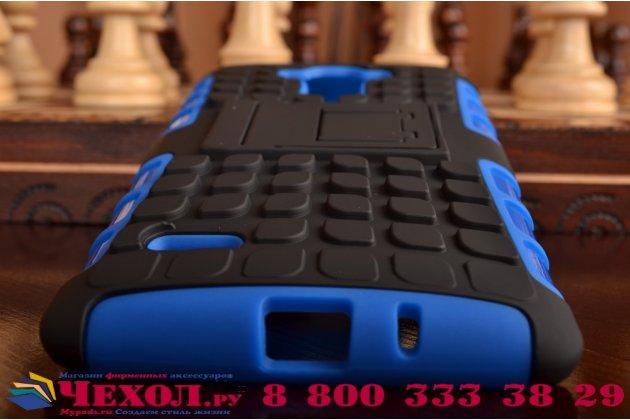 Противоударный усиленный ударопрочный фирменный чехол-бампер-пенал для LG G4 Stylus H540F / H635A / LS770 синий