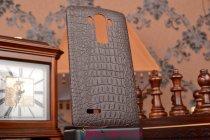 Элитная задняя панель-крышка премиум-класса из тончайшего и прочного пластика обтянутого кожей крокодила для LG G4 коричневая