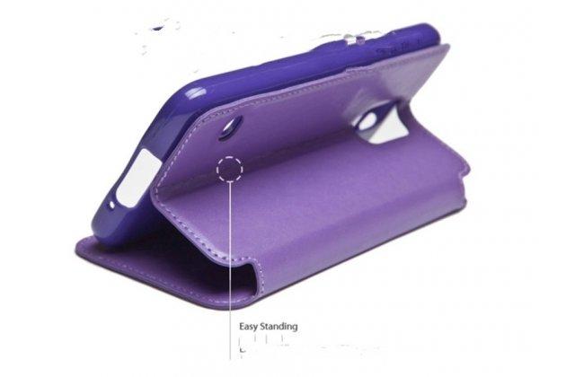 Фирменный оригинальный чехол-кейс из импортной кожи для LG G4 с окном для входящих вызовов малиновый