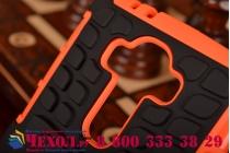 Противоударный усиленный ударопрочный фирменный чехол-бампер-пенал для LG G4 оранжевый