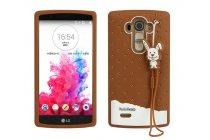"""Фирменная необычная уникальная полимерная мягкая задняя панель-чехол-накладка для LG G4 """"тематика Андроид в тёмном Шоколаде"""""""