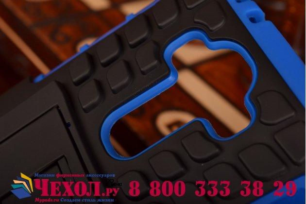 Противоударный усиленный ударопрочный фирменный чехол-бампер-пенал для LG G4 синий