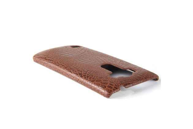 Элитная задняя панель-крышка премиум-класса из тончайшего и прочного пластика обтянутого кожей крокодила для LG G4 брутальный коричневый