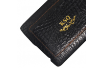 Элитная задняя панель-крышка премиум-класса из тончайшего и прочного пластика обтянутого кожей крокодила для LG G4 брутальный черный