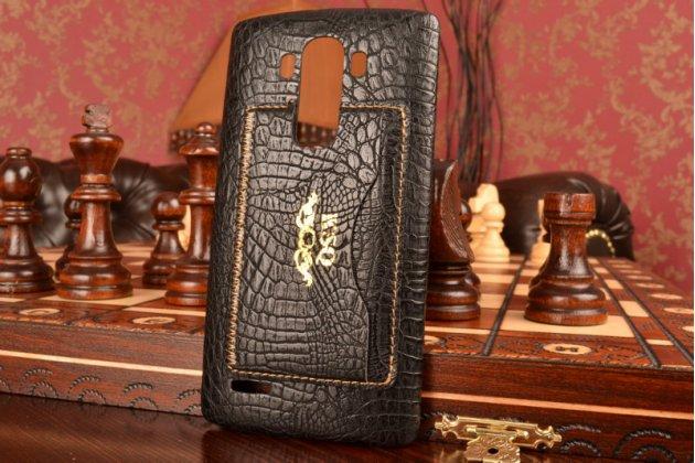 Фирменная роскошная элитная премиальная задняя панель-крышка для LG G4 из лаковой кожи крокодила черная