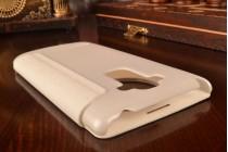 Фирменный оригинальный чехол-книжка для LG G4 Stylus H540F / H635A / LS770 белый кожаный с окошком для входящих вызовов
