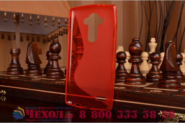 Фирменная ультра-тонкая полимерная из мягкого качественного силикона задняя панель-чехол-накладка для LG G4 красная