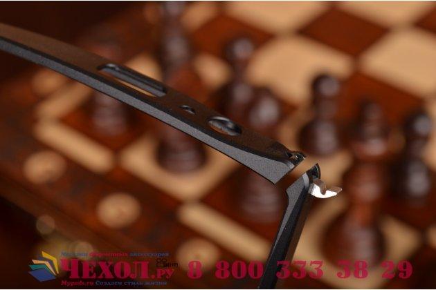 Фирменный оригинальный ультра-тонкий чехол-бампер для LG G4 черный металлический