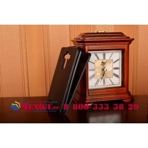 Фирменный оригинальный вертикальный откидной чехол-флип для LG G4 черный кожаный