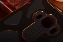 Противоударный усиленный ударопрочный фирменный чехол-бампер на металлической основе для LG G4 черного цвета