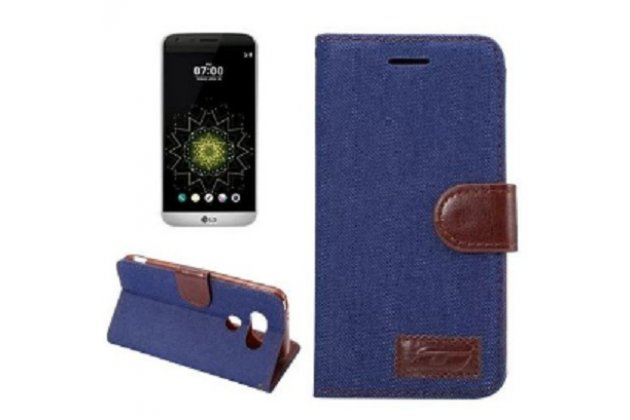 """Фирменный чехол-книжка для LG G5 SE H845 / H860N / H850 5.3"""" с визитницей и мультиподставкой джинсовый с кожей"""