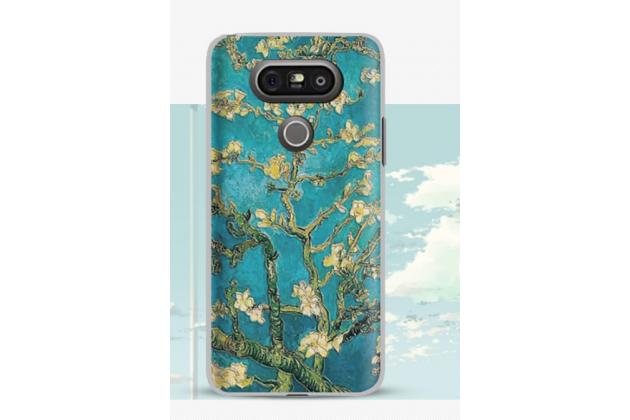 """Фирменная  задняя панель-крышка-накладка из тончайшего и прочного пластика для LG G5 SE H845 / H860N / H850 5.3"""" с 3D объёмным рисунком """"тематика цветущая Вишня"""""""