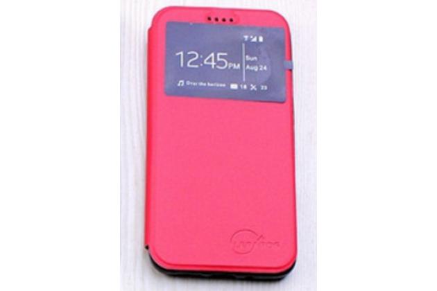 """Фирменный оригинальный чехол-книжка для LG G5 SE H845 / H860N / H850 5.3"""" красный с окошком для входящих вызовов водоотталкивающий"""