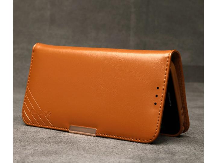 Фирменый чехол-портмоне-клатч-кошелек на силиконовой основе из цельного куска кожи с металлической застёжкой д..