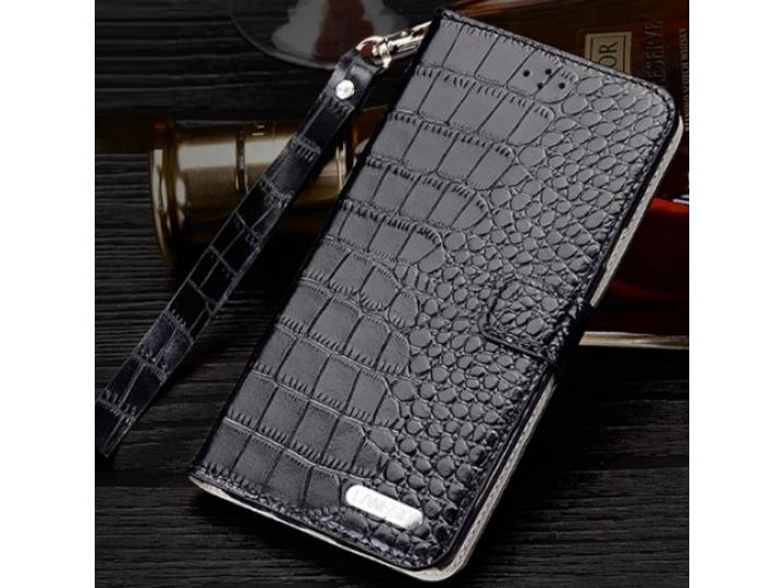 Фирменный роскошный эксклюзивный чехол с фактурной прошивкой рельефа кожи крокодила и визитницей черный для  L..