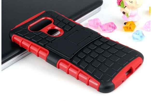 Противоударный усиленный ударопрочный фирменный чехол-бампер-пенал для LG G5 5.3 красный
