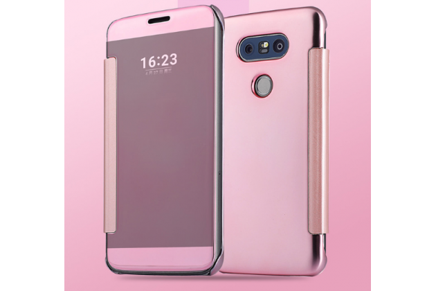 "Чехол-книжка с дизайном ""Clear View Cover"" полупрозрачный с зеркальной поверхностью для LG G5 SE H845 / H860N / H850 5.3"" розовый"